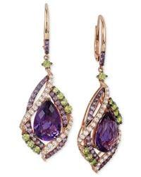 Le Vian - Multicolor Multi-stone Drop Earrings In 14k Rose Gold (12-3/4 Ct. T.w.) - Lyst