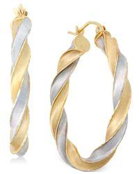 Macy's | Metallic Two-tone Twist Hoop Earrings In 14k Gold | Lyst