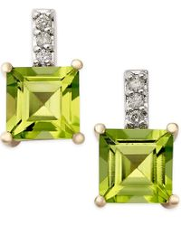 Macy's | Green Peridot (2-1/3 Ct. T.w.) And Diamond Accent Drop Earrings In 14k Gold | Lyst