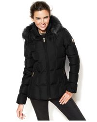 Calvin Klein | Black Plus Size Faux-fur-trim Down Coat | Lyst