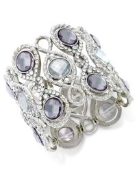 INC International Concepts | Metallic Silver-tone Crystal And Pave Filigree Stretch Bracelet, Only At Macy's | Lyst