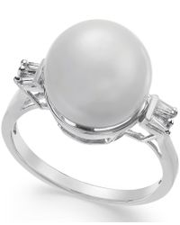 Macy's - Multicolor Cultured South Sea Pearl (11mm) And Diamond (1/5 Ct. T.w.) Ring In 14k White Gold - Lyst