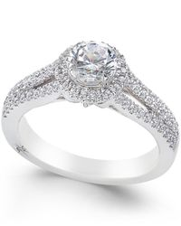Marchesa | Metallic Certified Diamond Halo Ring (1 Ct. T.w.) In 18k White Gold | Lyst