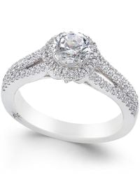 Marchesa - Metallic Certified Diamond Halo Ring (1 Ct. T.w.) In 18k White Gold - Lyst