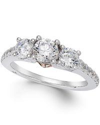 Marchesa | Metallic Diamond Three-stone Ring (1-1/2 Ct. T.w.) In 18k White Gold | Lyst