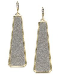 ABS By Allen Schwartz - Metallic Gold-tone Gray Texture Linear Drop Earrings - Lyst