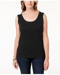 Karen Scott Black Petite Cotton Studded Top, Created For Macy's