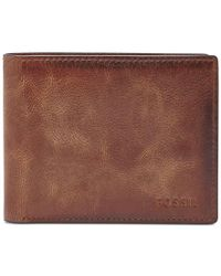 Fossil | Brown Men's Leather Wallet Derrick Rfid-blocking Bifold With Flip Id for Men | Lyst