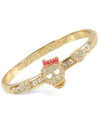 Betsey Johnson | Metallic Gold-tone Crystal Skull Bangle Bracelet | Lyst