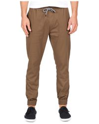 Volcom - Brown Men's Frickin Slim-fit Joggers for Men - Lyst