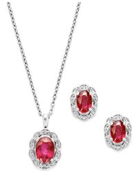 Macy's | Red Gemstone (2 Ct. T.w.) And Diamond Accent Jewelry Set In Sterling Silver | Lyst