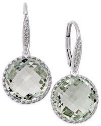 Macy's | Metallic Green Amethyst (11 Ct. T.w.) And Diamond Accent Drop Earrings In 14k White Gold | Lyst