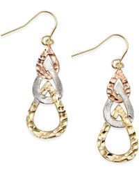 Macy's - Metallic Tri-tone Hammered Teardrop Earrings In 10k Gold - Lyst