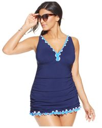 Gottex - Blue Plus Size Ruffled One-piece Swimdress - Lyst