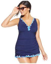 Gottex | Blue Plus Size Ruffled One-piece Swimdress | Lyst