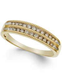 Macy's - Metallic Diamond Two-row Milgrain Band (1/5 Ct. T.w.) In 10k Yellow Gold - Lyst