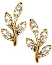 Macy's | Metallic Diamond Leaf Earrings (1/10 Ct. T.w.) In 10k Gold | Lyst