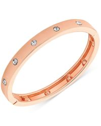 Guess | Metallic Rose Gold-tone Hinge Bracelet With Clear Stones | Lyst
