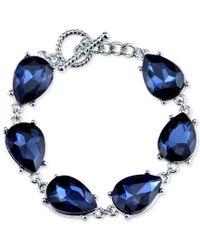 2028 - Silver-tone Blue Pear-cut Crystal Link Bracelet - Lyst