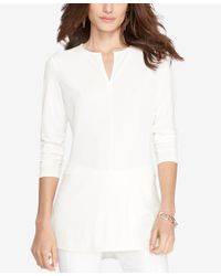 Lauren by Ralph Lauren | Natural Keyhole Jersey Top | Lyst