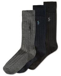 Polo Ralph Lauren | Black Men's Three-pack Crew Socks for Men | Lyst