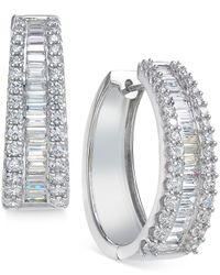 Macy's - Diamond Hoop Earrings (3 Ct. T.w.) In 14k White Gold - Lyst