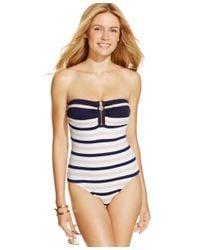Michael Kors | Blue Michael Striped Zip-front One-piece Swimsuit | Lyst