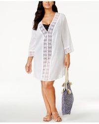 La Blanca - White Plus Size Crochet-trim Tunic Cover-up - Lyst