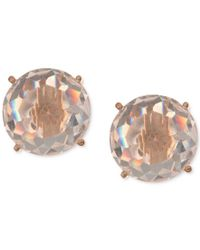 Anne Klein - Metallic Gold-tone Faceted White Stone Stud Earrings - Lyst