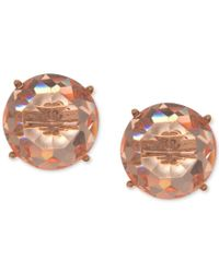 Anne Klein - Pink Gold-tone Faceted Rose Stone Stud Earrings - Lyst