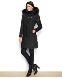 Calvin Klein | Black Faux-fur-trimmed Hooded Down Coat | Lyst