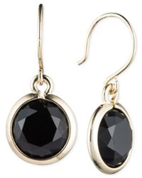 Anne Klein | Black Stone Drop Earrings | Lyst