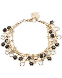 Anne Klein | Metallic Gold-tone Jet And Crystal Layer Bracelet | Lyst