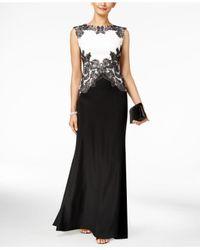 Tadashi Shoji | Black Two-tone Lace Gown | Lyst