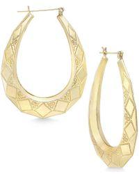 Macy's - Metallic Patterned Oval Hoop Earrings In 10k Gold - Lyst