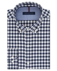 Tommy Hilfiger - Blue Slim-fit Non-iron Soft Wash Navy Gingham Dress Shirt for Men - Lyst