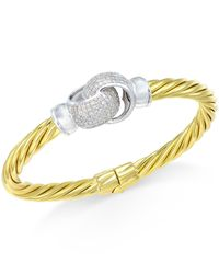 Macy's - Metallic Diamond Interlocked Knot Bangle Bracelet (1 Ct. T.w.) In 14k Gold-plated Sterling Silver - Lyst
