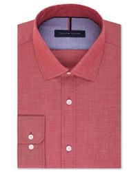 Tommy Hilfiger - Red Men's Slim-fit Non-iron Soft Wash Solid Dress Shirt for Men - Lyst