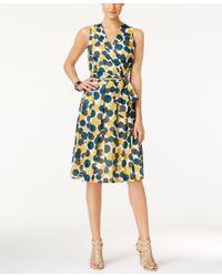 Anne Klein - Multicolor Dot-print Faux-wrap Dress - Lyst