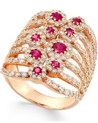 Macy's - Pink Ruby (1 Ct. T.w.) And Diamond (2-1/6 Ct. T.w.) Ring In 14k Rose Gold - Lyst