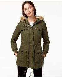 Levi's | Green Hooded Faux-fur Sherpa-lined Jacket | Lyst