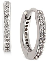 Danori | Metallic Silver-tone Crystal Pave Huggy Hoop Earrings | Lyst