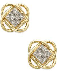 Macy's | Metallic Diamond Accent Knot Earrings In 10k Gold | Lyst