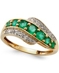 Macy's | Metallic Emerald (3/4 Ct. T.w.) And Diamond Accent Ring In 14k Gold | Lyst