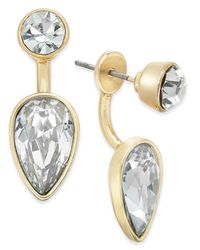 ABS By Allen Schwartz | Metallic Gold-tone Crystal Earring Jacket Earrings | Lyst