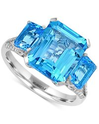 Effy Collection - Metallic Effy Blue Topaz (6-1/3 Ct. T.w.) And Diamond (1/8 Ct. T.w.) Ring In 14k White Gold - Lyst