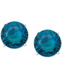 Anne Klein - Gold-tone Blue Round Stone Stud Earrings - Lyst