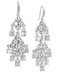 Carolee | Metallic Silver-tone Crystal Double-drop Chandelier Earrings | Lyst