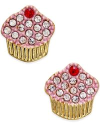 kate spade new york | Metallic Gold-tone Pave Cupcake Stud Earrings | Lyst