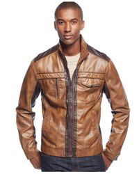INC International Concepts | Brown Men's Jones Two-tone Faux-leather Jacket, Only At Macy's for Men | Lyst